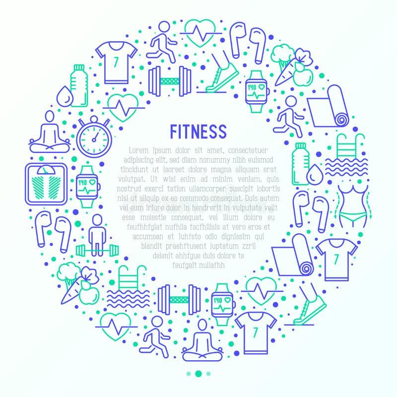 Concepto de la aptitud en círculo con la línea fina iconos stock de ilustración