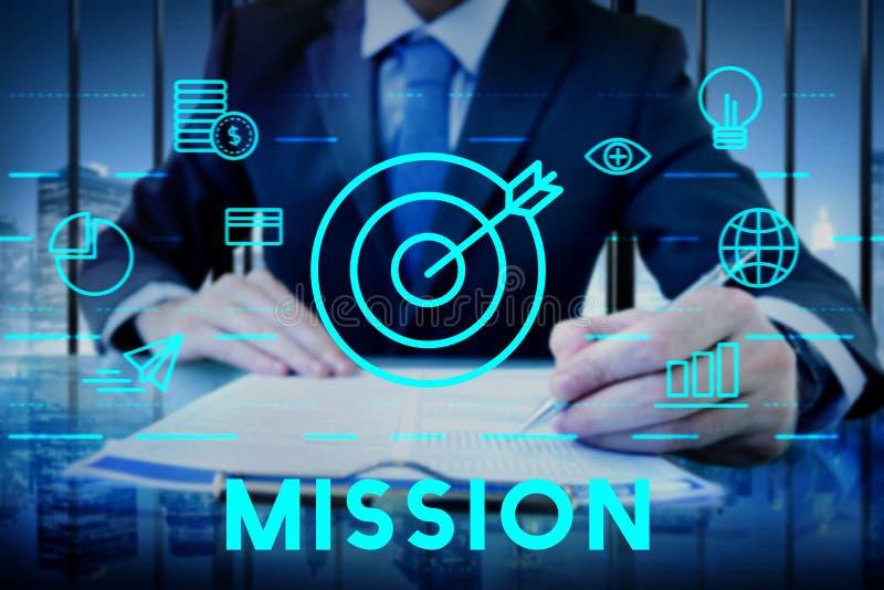 Concepto de la aspiración del objetivo de las metas de la misión imagen de archivo libre de regalías