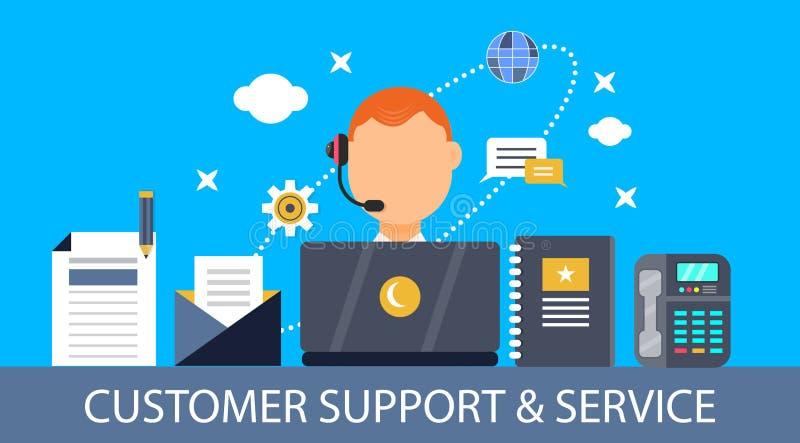 Concepto de la atención al cliente y del servicio - bandera plana del vector del diseño libre illustration