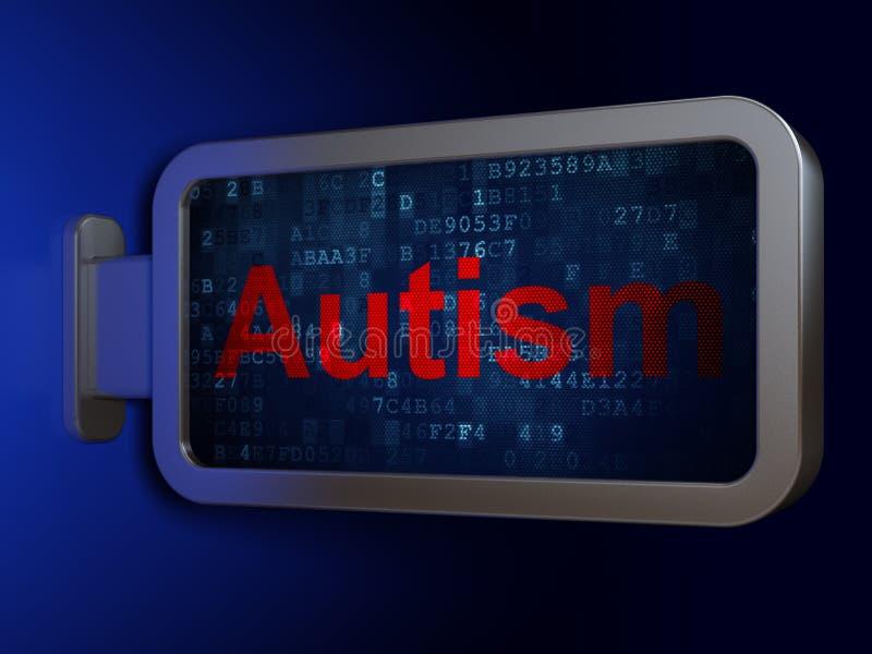 Concepto de la atención sanitaria: Autismo en fondo de la cartelera ilustración del vector