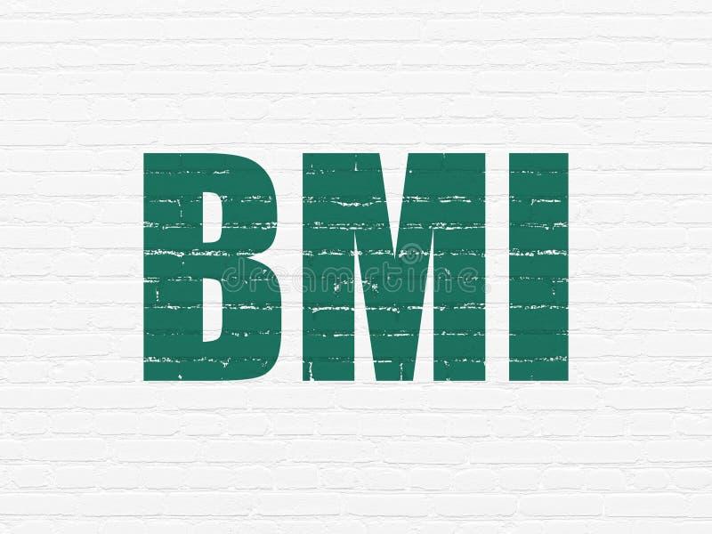 Concepto de la atención sanitaria: BMI en fondo de la pared ilustración del vector