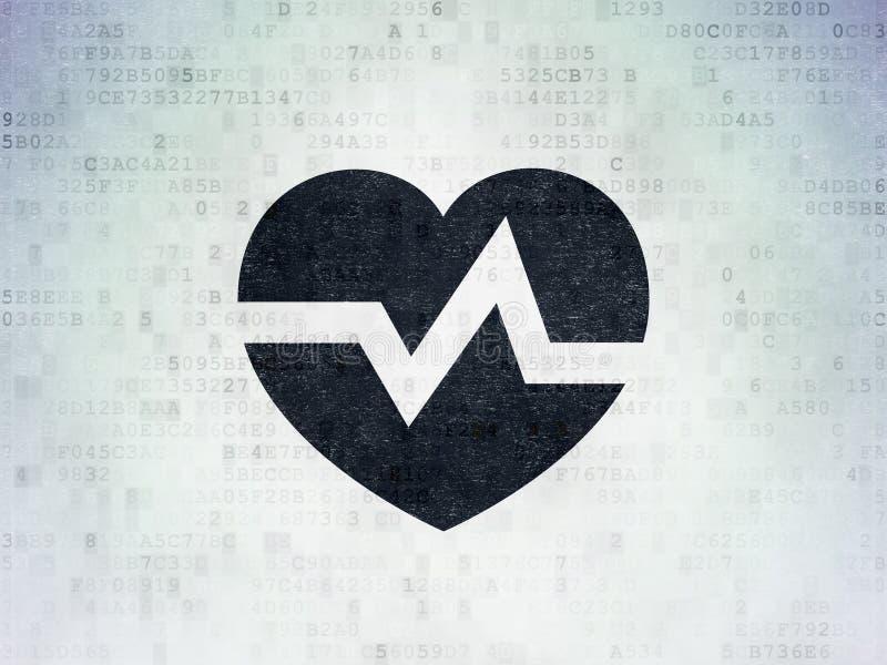 Concepto de la atención sanitaria: Corazón en fondo del papel de datos de Digitaces stock de ilustración