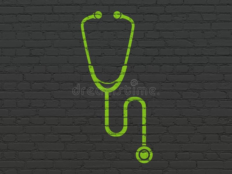 Concepto de la atención sanitaria: Estetoscopio en fondo de la pared stock de ilustración