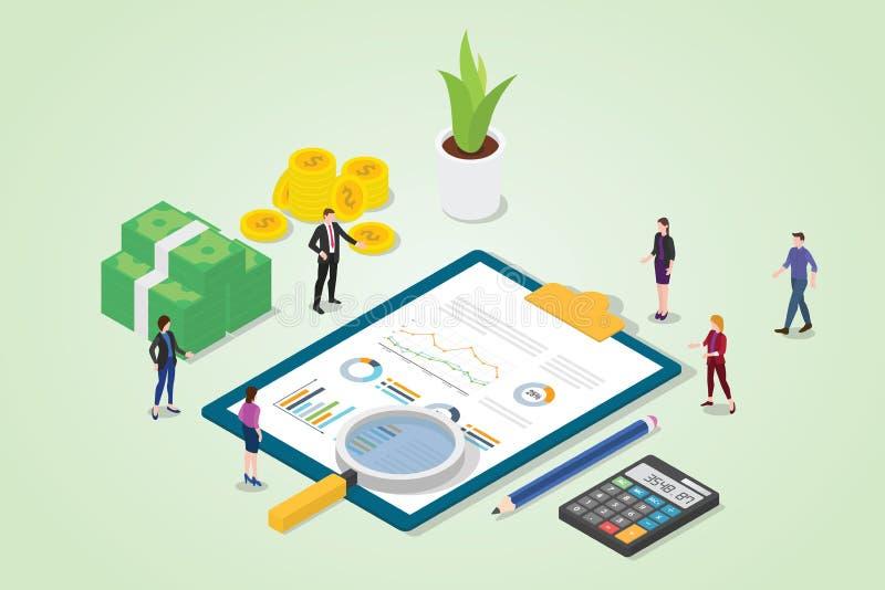 Concepto de la auditoría financiera con informe de las finanzas del gráfico de negocio con la gente del equipo con el análisis de ilustración del vector