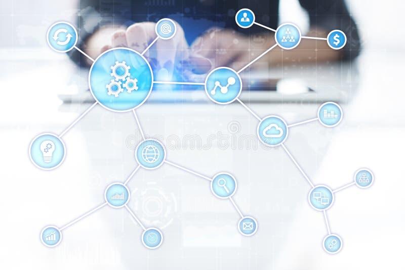Concepto de la automatización como innovación, mejorando productividad, confiabilidad en tecnología y procesos de negocio fotos de archivo libres de regalías