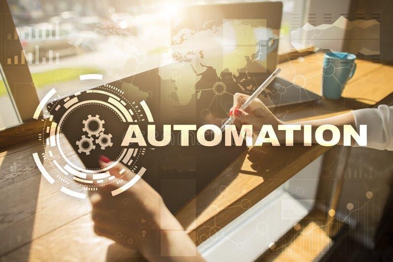 Concepto de la automatización como innovación, mejorando productividad, confiabilidad en tecnología y procesos de negocio imágenes de archivo libres de regalías