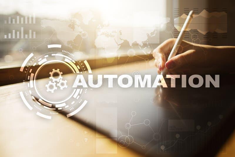 Concepto de la automatización como innovación, mejorando productividad, confiabilidad en tecnología y procesos de negocio fotos de archivo