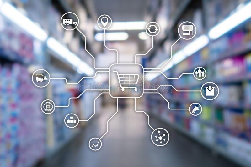 Concepto de la automatización de las compras del comercio electrónico de los canales de comercialización al por menor en backgrou stock de ilustración