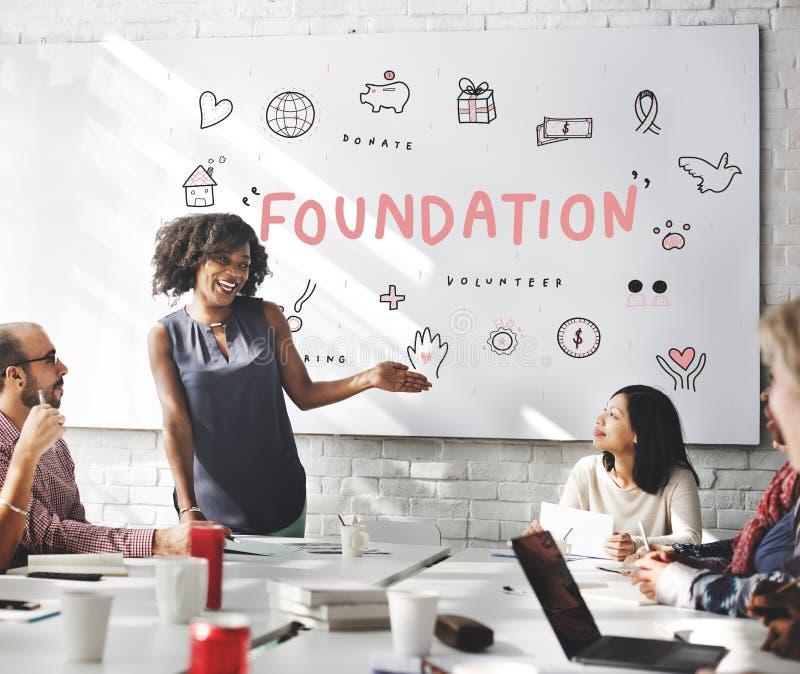 Concepto de la ayuda de la caridad de las donaciones de la fundación imagen de archivo libre de regalías