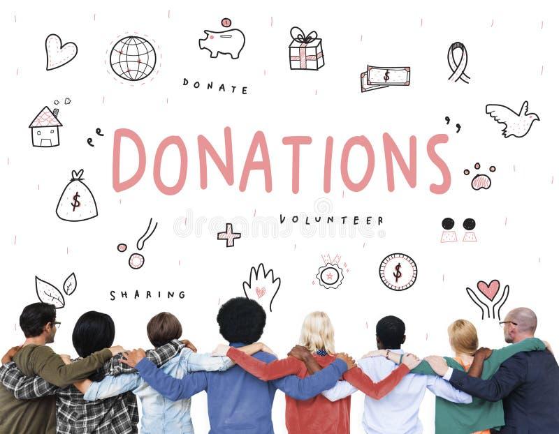 Concepto de la ayuda de la fundación de la caridad de las donaciones fotos de archivo libres de regalías