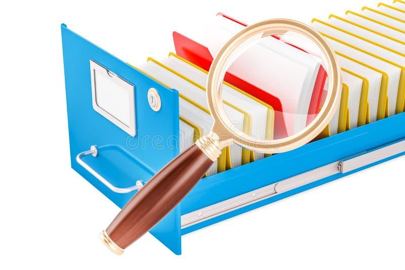 Concepto de la búsqueda del fichero Carpetas con la lupa, representación 3D ilustración del vector