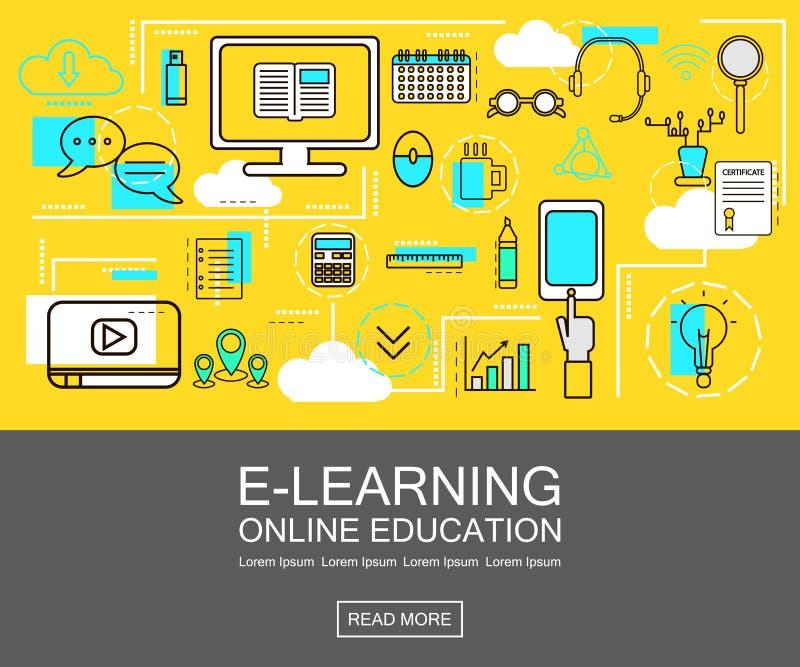 Concepto de la bandera del aprendizaje electrónico Educación en línea Línea fina iconos Ilustración del vector Para el web, red,  libre illustration