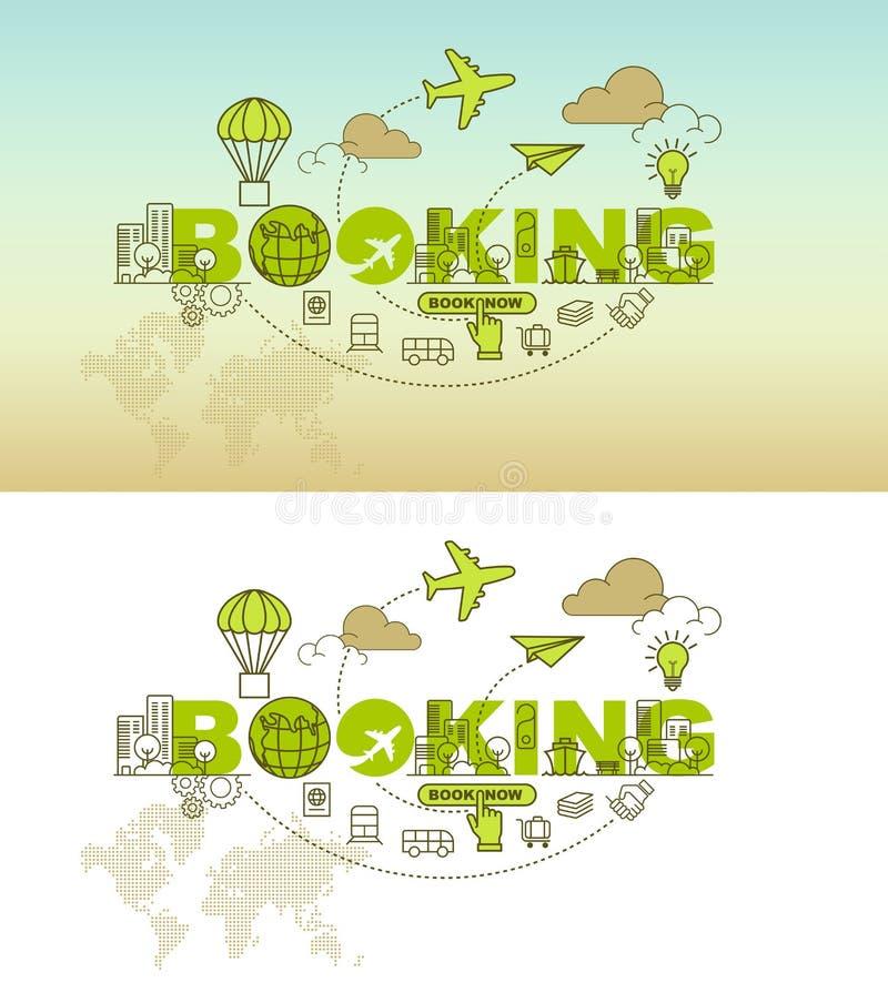 Concepto de la bandera del sitio web de la reservación con la línea fina diseño plano stock de ilustración