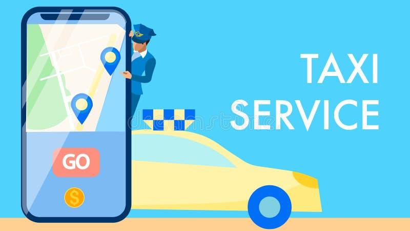 Concepto de la bandera del vector de la aplicación de servicios del taxi stock de ilustración
