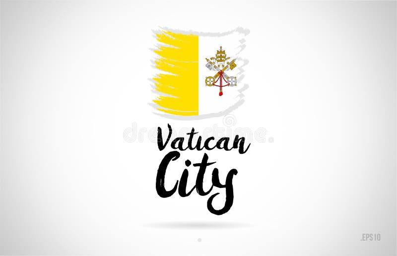 concepto de la bandera de país de la Ciudad del Vaticano con diseño del grunge stock de ilustración