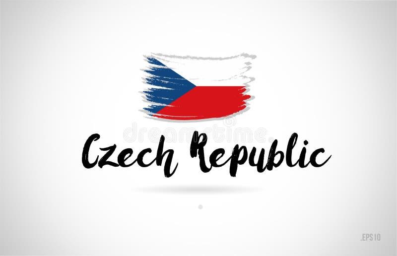 concepto de la bandera de país de la República Checa con el logotipo del icono del diseño del grunge libre illustration