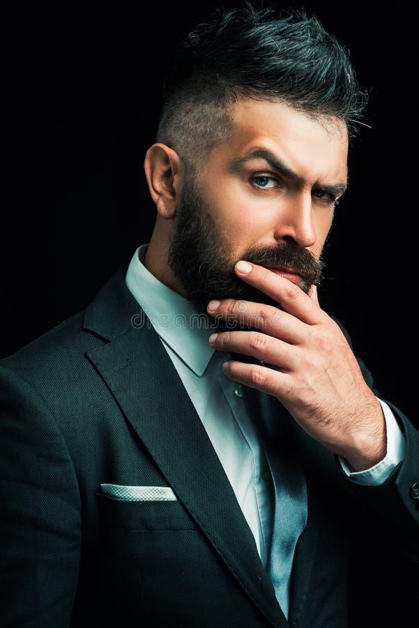 Concepto de la barber?a Despu?s de la irritaci?n del afeitado Peluquer?a de caballeros Cera del bigote Sal?n de pelo y vintage de fotografía de archivo libre de regalías