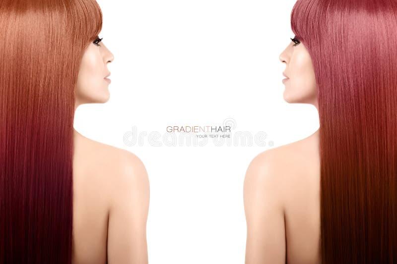 Concepto de la belleza del color del pelo Mujer con la pendiente larga magnífica ha fotos de archivo libres de regalías