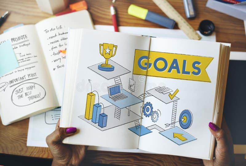 Concepto de la blanco de la aspiración de la motivación de la misión de las metas imagen de archivo libre de regalías