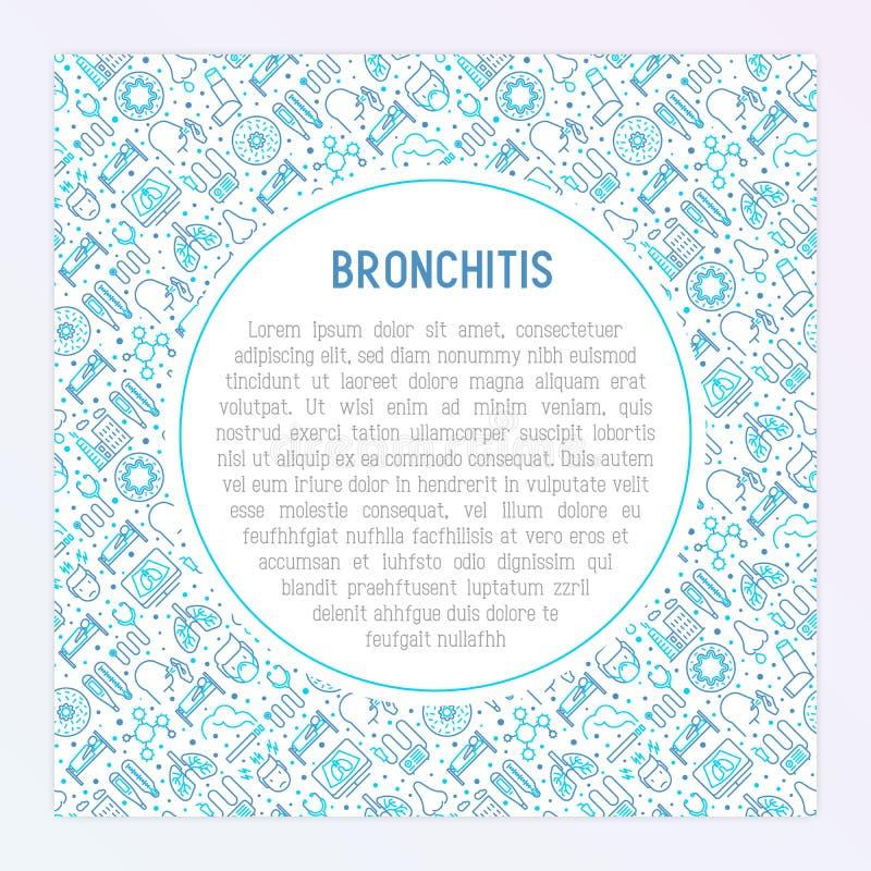 Concepto de la bronquitis con la línea fina iconos ilustración del vector