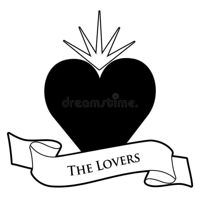 Concepto de la carta de tarot Los amantes Bandera del corazón y del texto aislada en el fondo blanco stock de ilustración