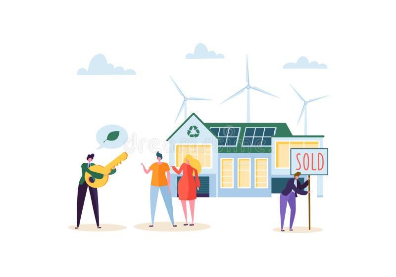 Concepto de la casa de Eco con la gente feliz que compra el nuevo hogar Agente inmobiliario con los clientes y llave Energía verd libre illustration