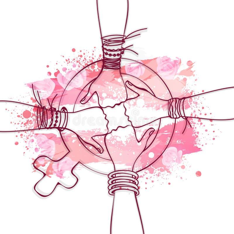Concepto de la celebración del día de las mujeres internacionales ilustración del vector