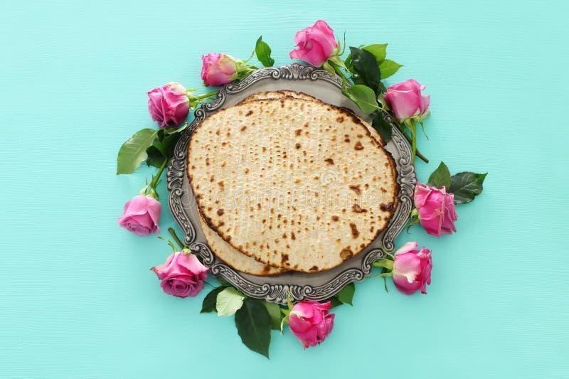Concepto de la celebración de Pesah y x28; holiday& judío x29 de la pascua judía; Visión superior, endecha plana fotografía de archivo libre de regalías