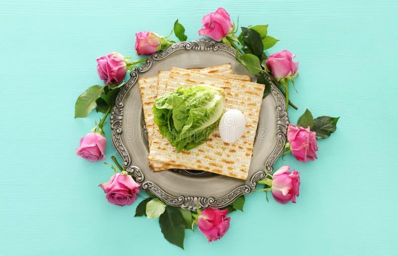 Concepto de la celebración de Pesah y x28; holiday& judío x29 de la pascua judía; Visión superior, endecha plana foto de archivo libre de regalías