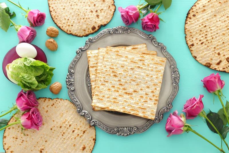 Concepto de la celebración de Pesah y x28; holiday& judío x29 de la pascua judía; Visión superior, endecha plana imagen de archivo