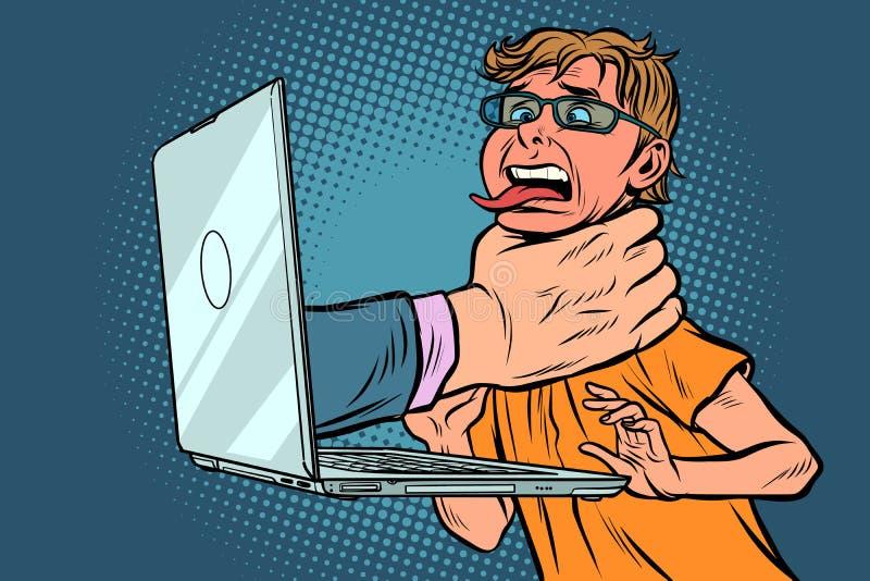Concepto de la censura de Internet La mano estrangula al usuario del ordenador ilustración del vector