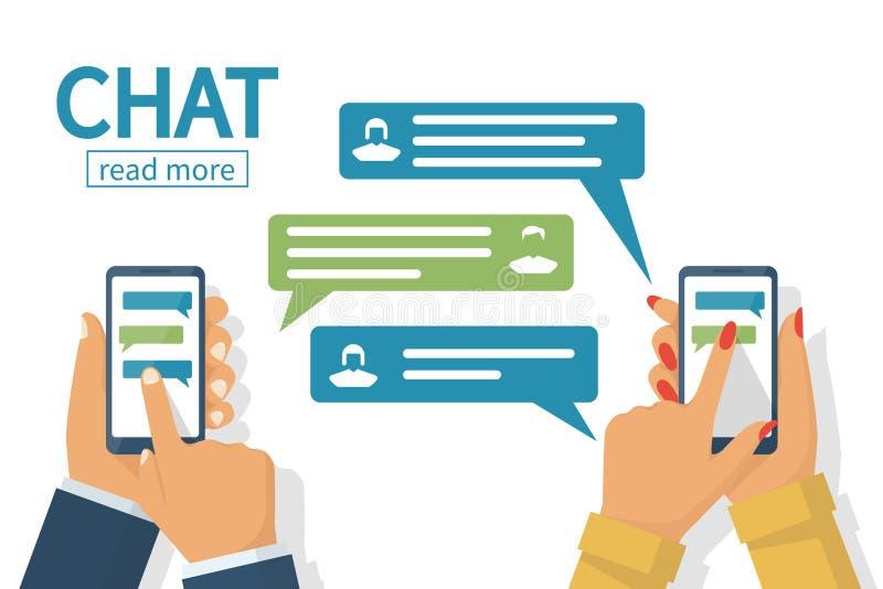 Concepto de la charla Mensajes que mandan un SMS en Internet ilustración del vector
