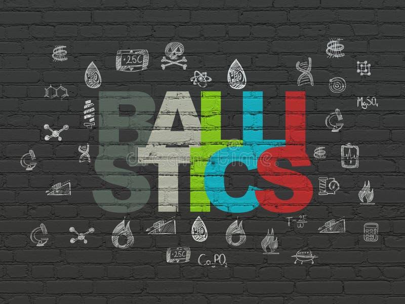 Concepto de la ciencia: Balística en fondo de la pared stock de ilustración