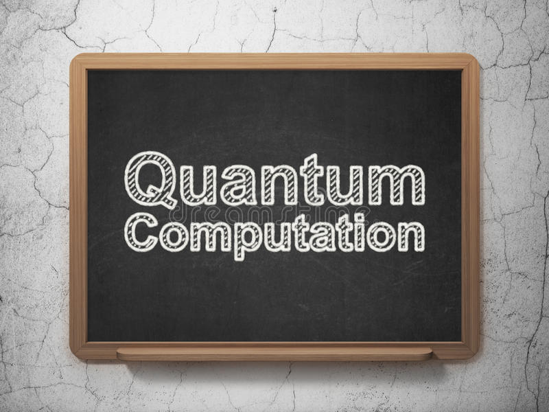 Concepto de la ciencia: Cómputo de Quantum en fondo de la pizarra libre illustration