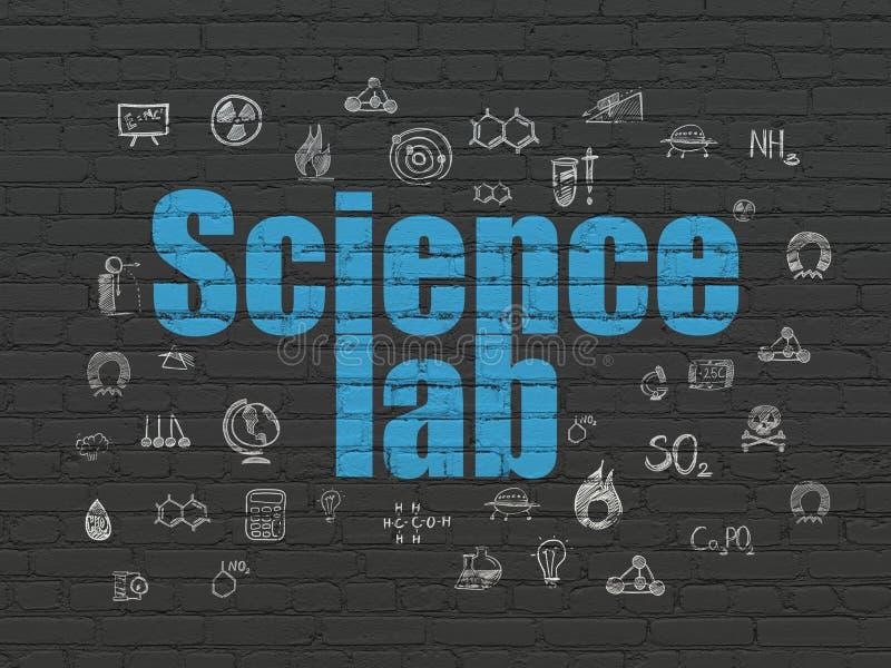 Concepto de la ciencia: Laboratorio de ciencia en fondo de la pared stock de ilustración