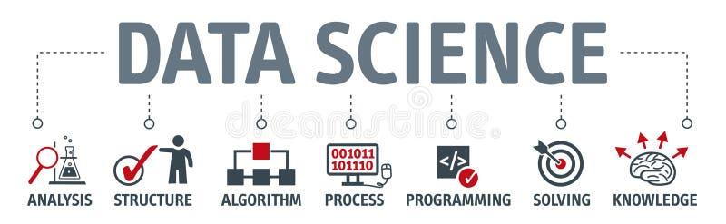 Concepto de la ciencia de los datos de la bandera con los iconos libre illustration