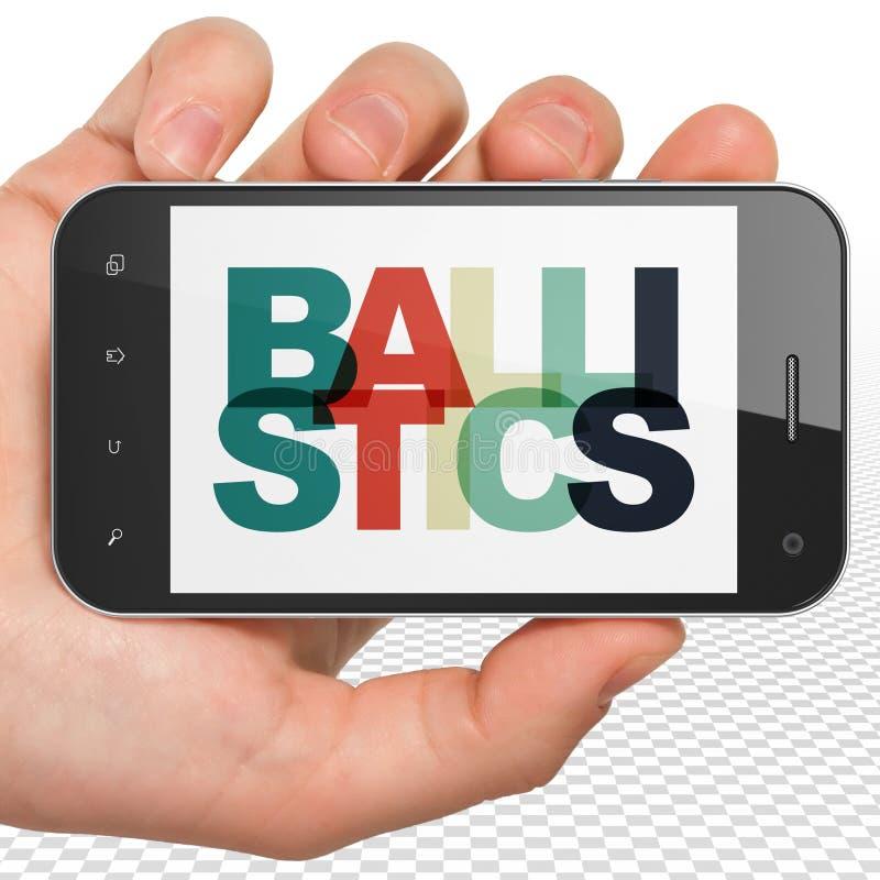Concepto de la ciencia: Mano que sostiene Smartphone con balística en la exhibición ilustración del vector