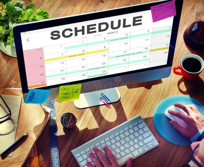 Concepto de la cita del calendario de la actividad del horario imagenes de archivo