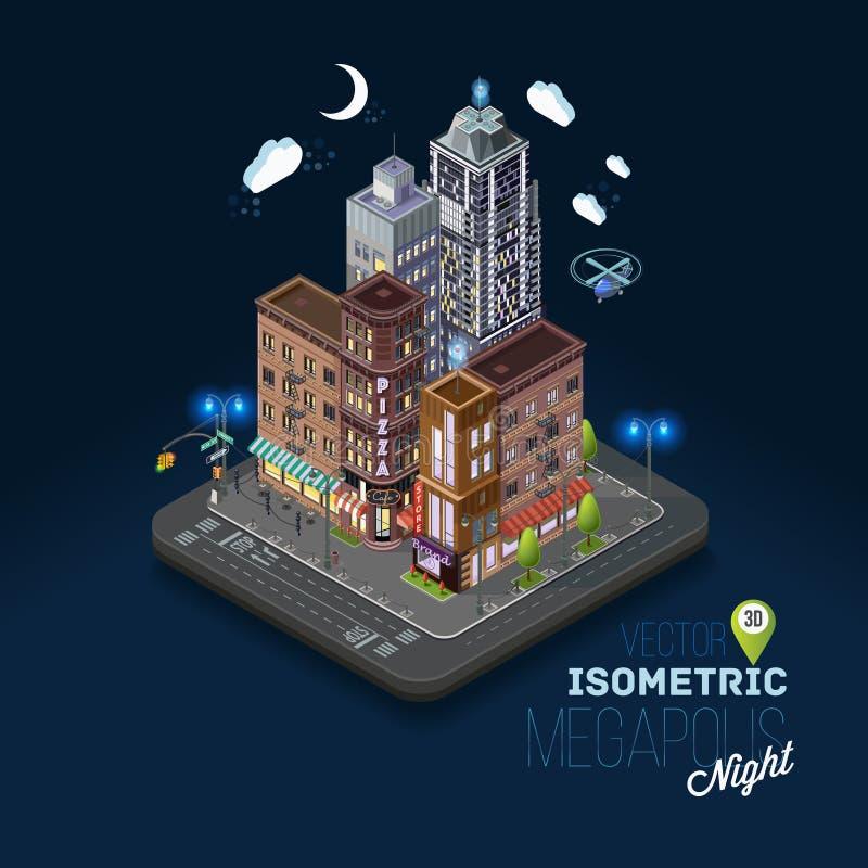 Concepto de la ciudad con los edificios isométricos, stock de ilustración