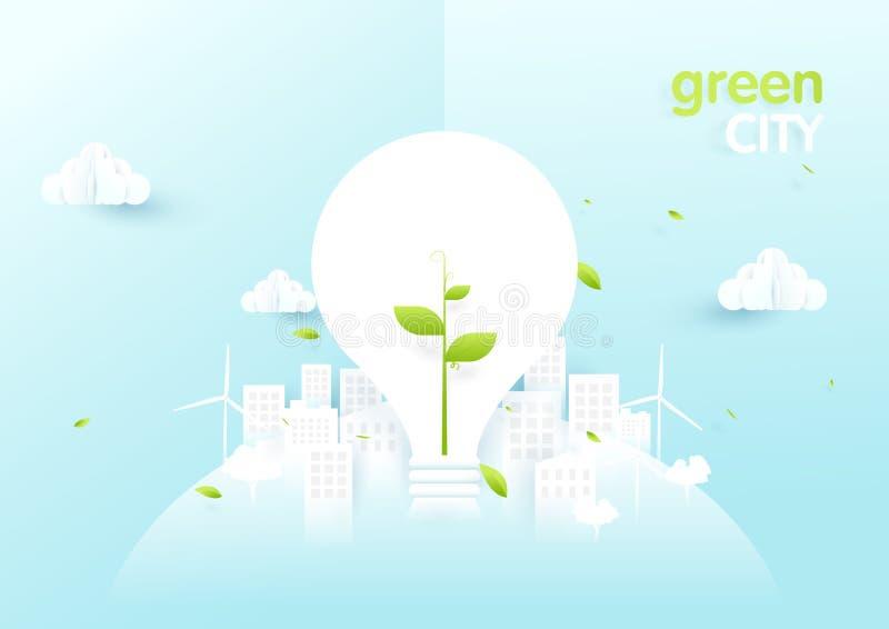 Concepto de la ciudad de Eco Bombillas con el árbol joven en ciudad verde de la ecología libre illustration