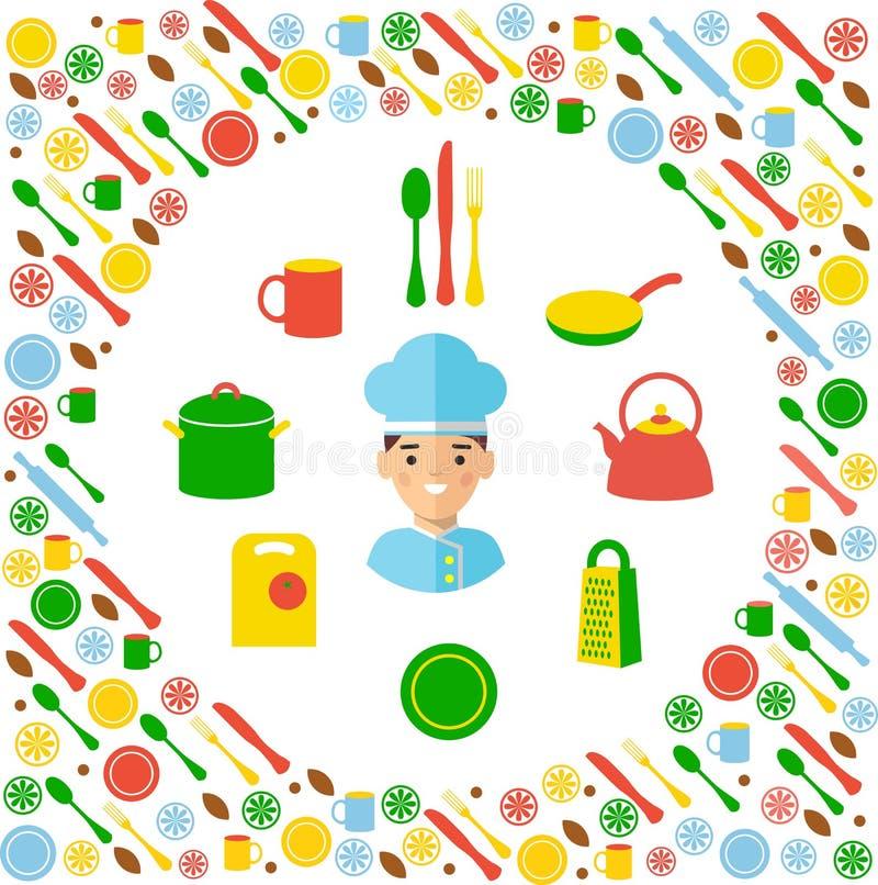 Concepto de la cocina con el fondo de los iconos ilustración del vector