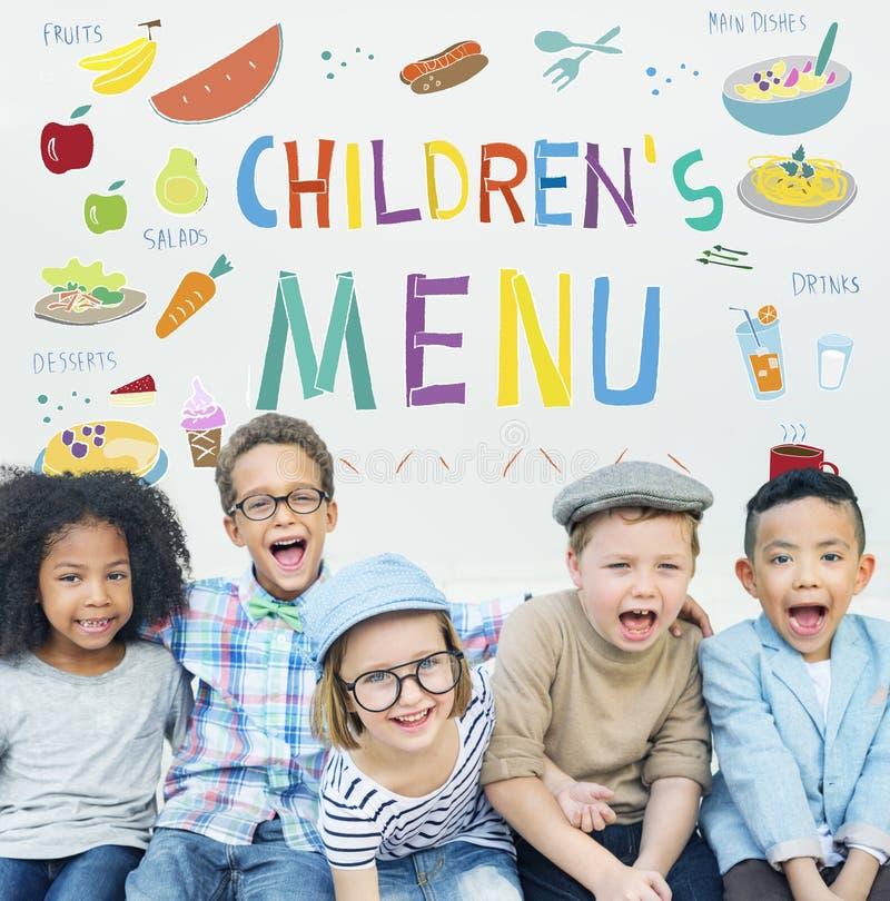 Concepto de la cocina de las recetas de la comida del menú de los niños imagen de archivo