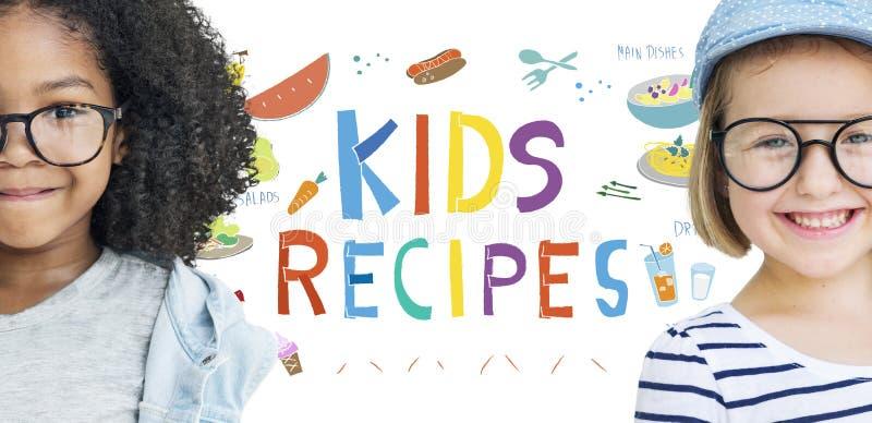 Concepto de la cocina de las recetas de la comida del menú de los niños foto de archivo
