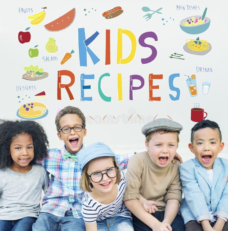 Concepto de la cocina de las recetas de la comida del menú de los niños fotografía de archivo libre de regalías