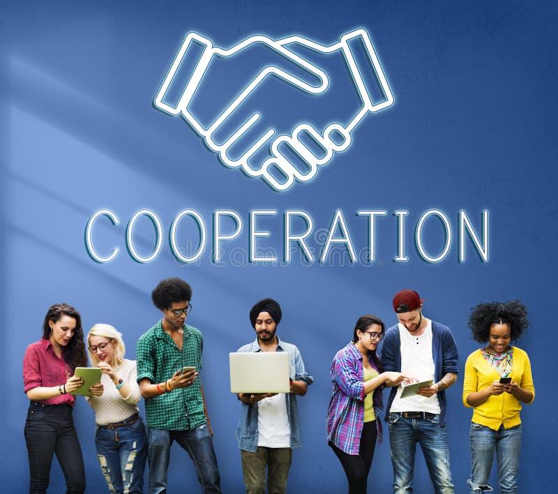 Concepto de la colaboración de la cooperación del acuerdo de la sociedad foto de archivo libre de regalías