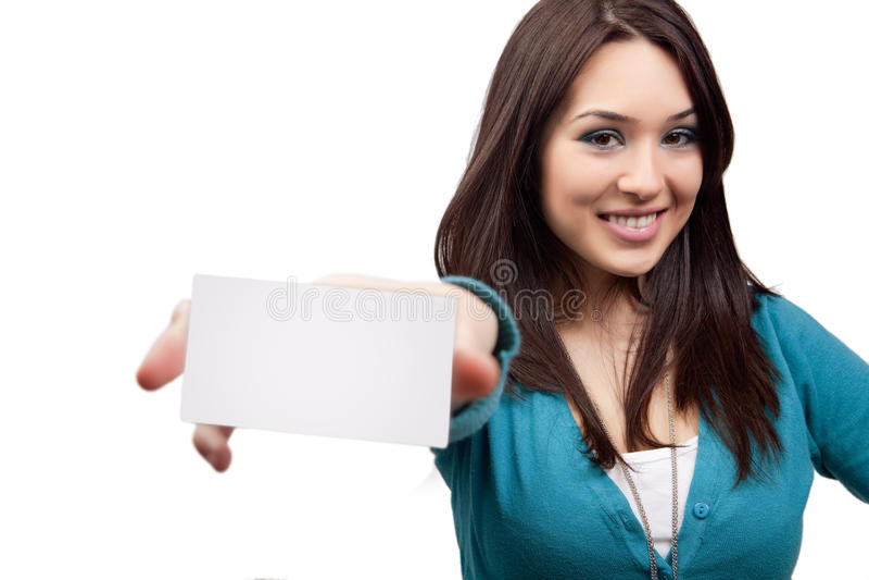 Concepto de la comercialización - mujer y tarjeta de visita fotos de archivo libres de regalías
