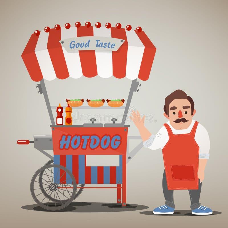 Concepto de la comida de la calle con el carro y el vendedor del perrito caliente ilustración del vector
