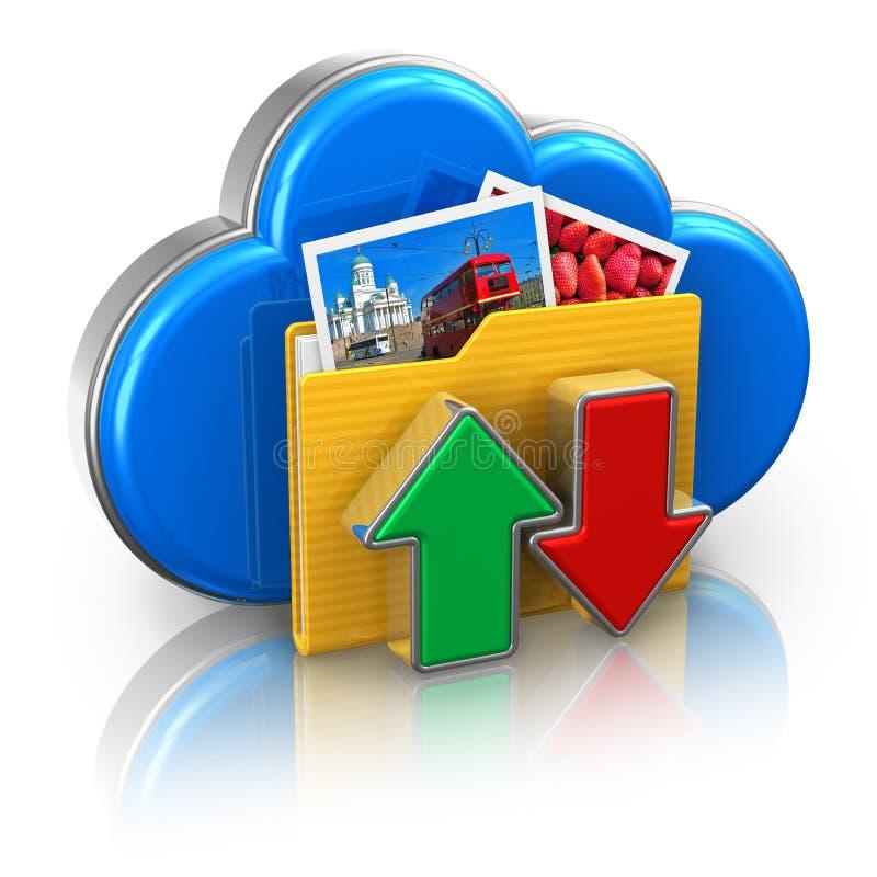 Concepto de la computación de la nube y del almacenaje de los media stock de ilustración