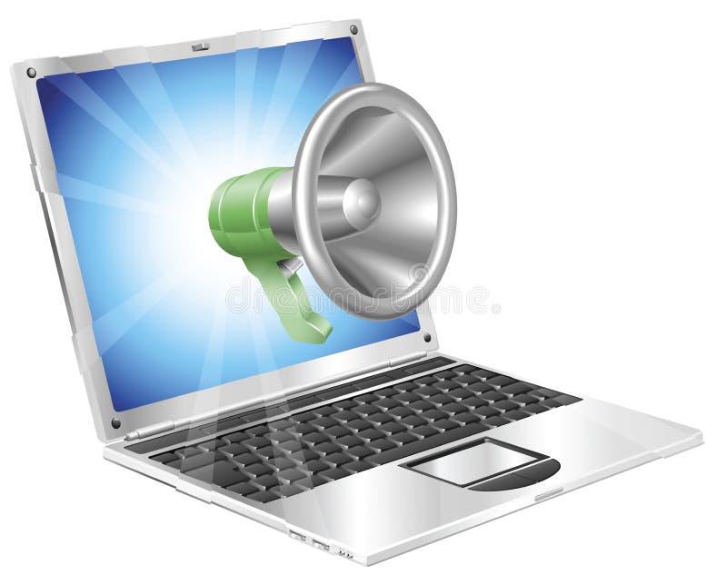 Concepto de la computadora portátil del icono del megáfono ilustración del vector