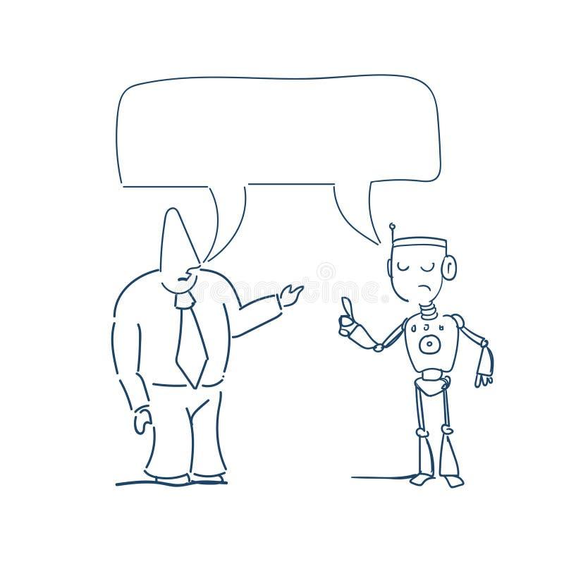 Concepto de la comunicación de la burbuja de la caja de la charla del robot que habla humano, fondo del blanco del bosquejo de la stock de ilustración
